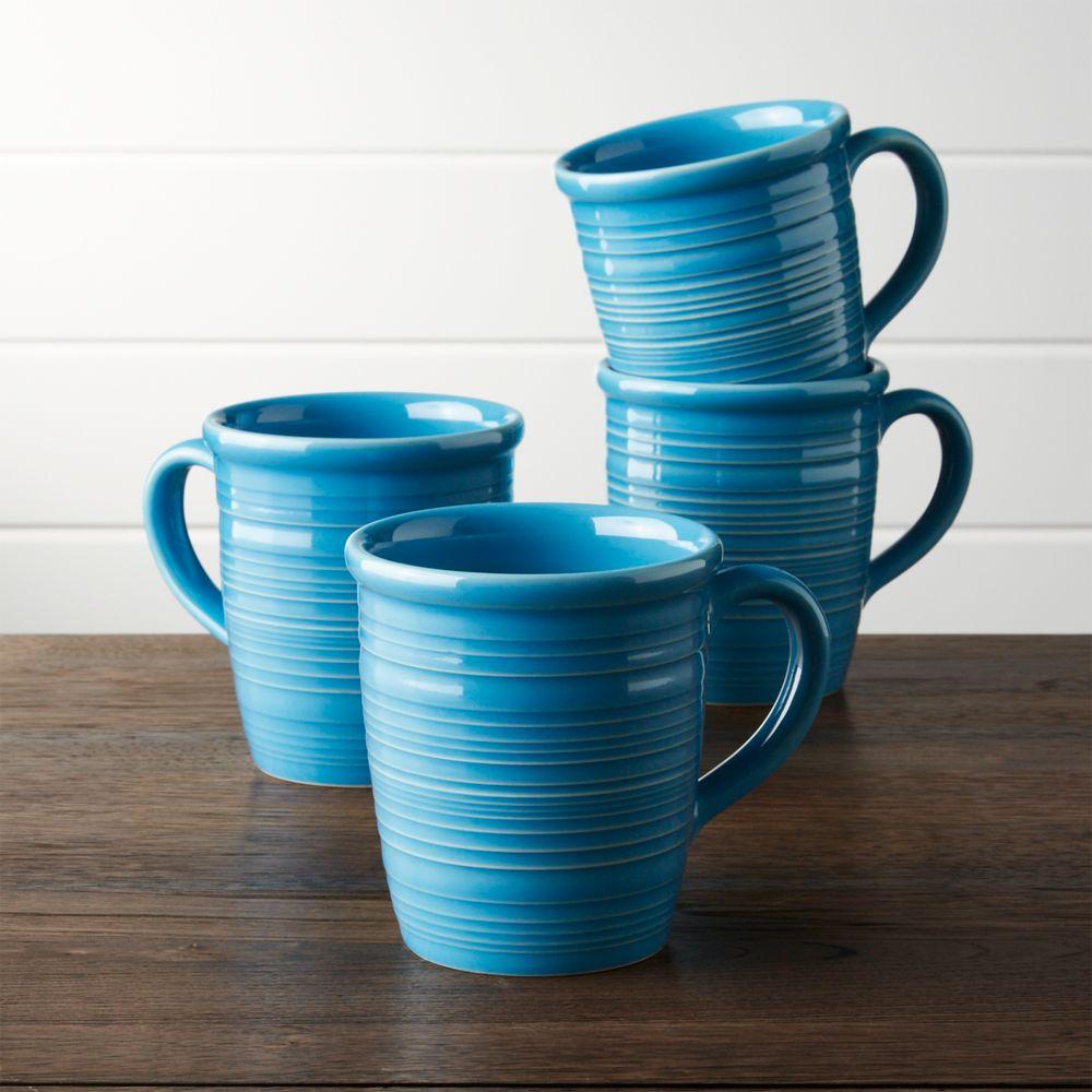Set of 4 Farmhouse Aqua Mugs - Crate and Barrel