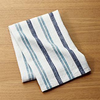 Farmhouse Aqua Striped Dish Towel