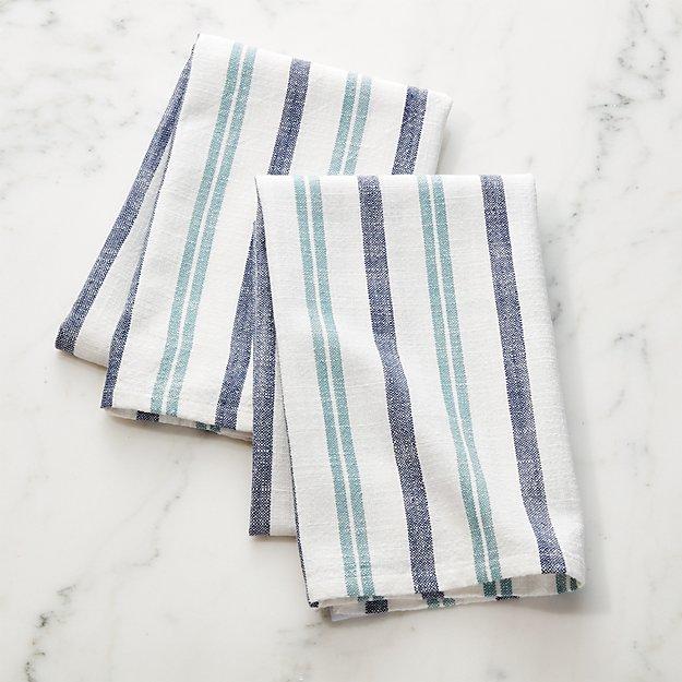 Farmhouse Aqua Stripe Dish Towels Set Of 2 Reviews Crate And Barrel