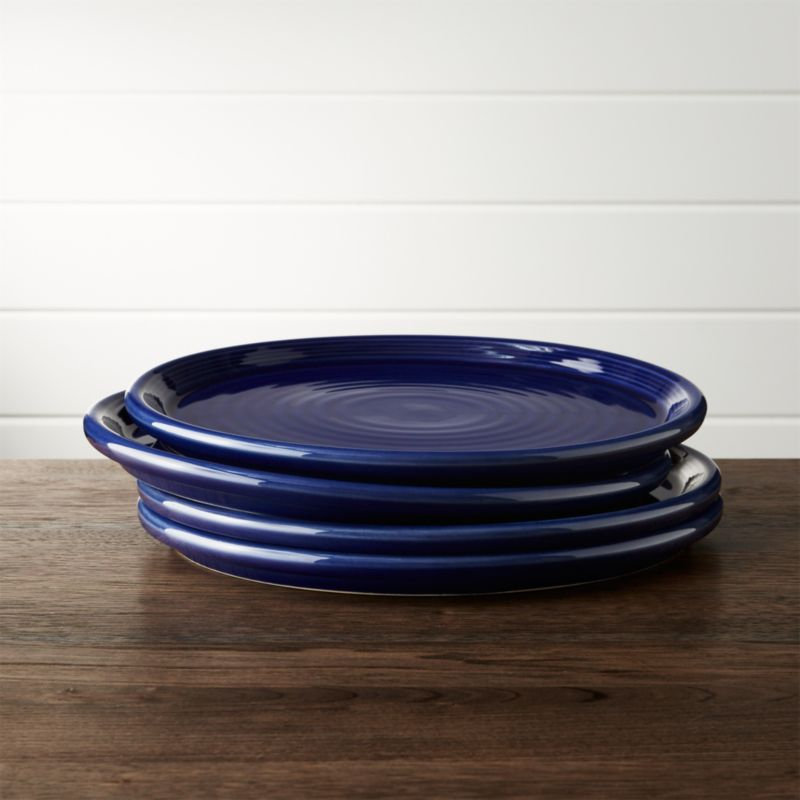 & Set of 4 Farmhouse Blue Dinner Plates + Reviews | Crate and Barrel