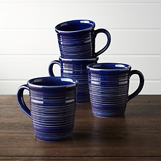Set of 4 Farmhouse Blue Mugs
