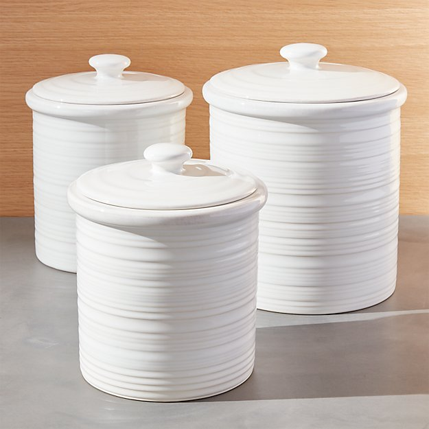 kitchen storage containers ceramic farmhouse canisters crate and barrel 6157