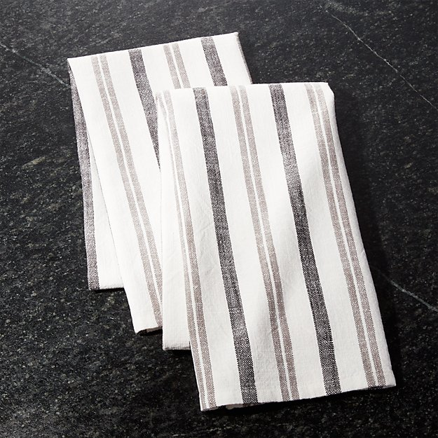 Farmhouse Grey Stripe Dish Towels Set Of 2 Reviews Crate And Barrel