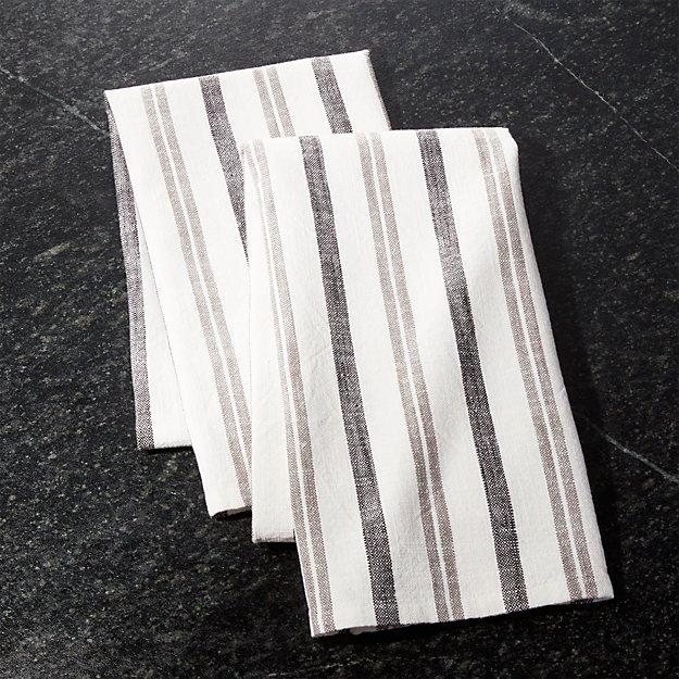 Farmhouse Grey Stripe Dish Towels, Set of 2 - Image 1 of 4