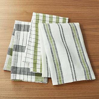Farmhouse Stripe/Check Green Dishtowels, Set Of 3