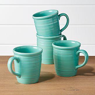 Farmhouse Mint Green Mugs Set Of 4
