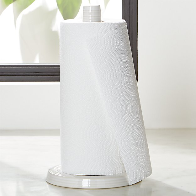Paper Towel.  Farmhouse White Paper Towel Holder Crate and Barrel