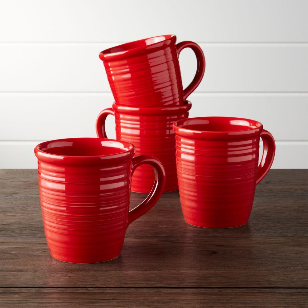 Farmhouse Red Mugs, Set of 4
