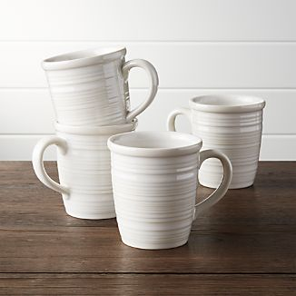 Set of 4 Farmhouse White Mugs