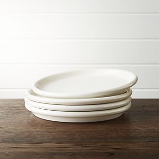 Set of 4 Farmhouse White Salad Plates