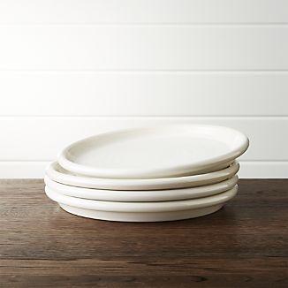 Set of 4 Farmhouse White Salad Plates