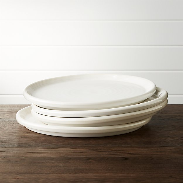 Set of 4 Farmhouse White Dinner Plate
