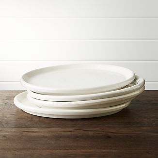 Set of 4 Farmhouse White Dinner Plate & Glazed Portugal Dinnerware | Crate and Barrel