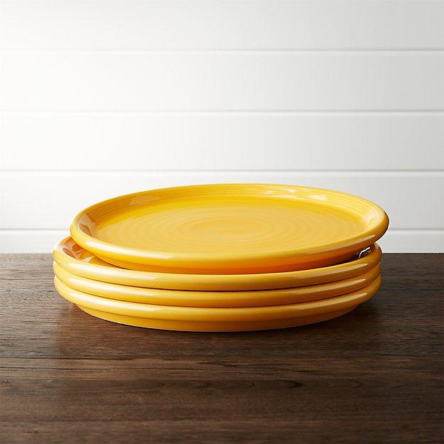 Set of 4 Farmhouse Yellow Dinner Plate