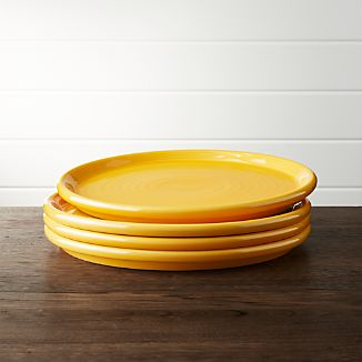 Set of 4 Farmhouse Yellow Dinner Plate