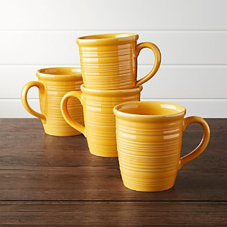 Set of 4 Farmhouse Yellow Mugs