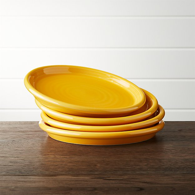 Set of 4 Farmhouse Yellow Salad Plates