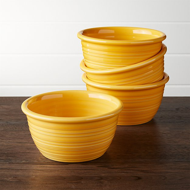 Farmhouse Yellow Cereal Bowls, Set of 4