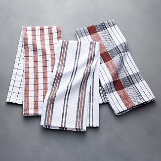 Farmhouse Stripe/Check Henna Dish Towels, Set of 3
