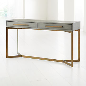 Faux Shagreen Leather Console Table