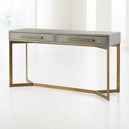 Faux Reen Leather Console Table