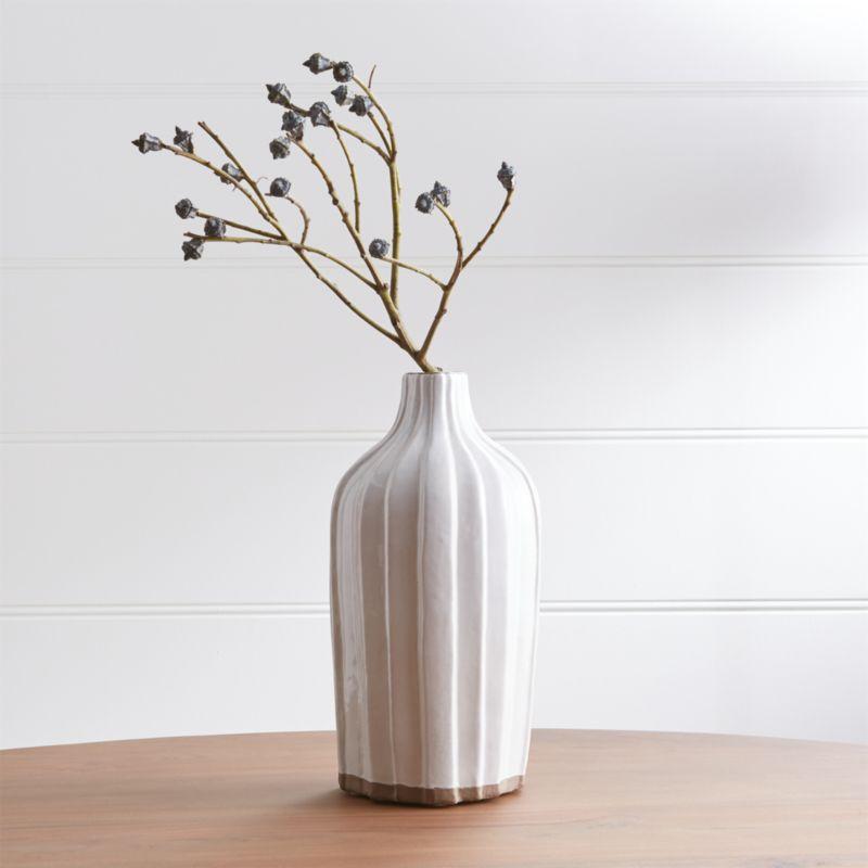 "Faye 12"" Cream Terra Cotta Vase by Crate&Barrel"
