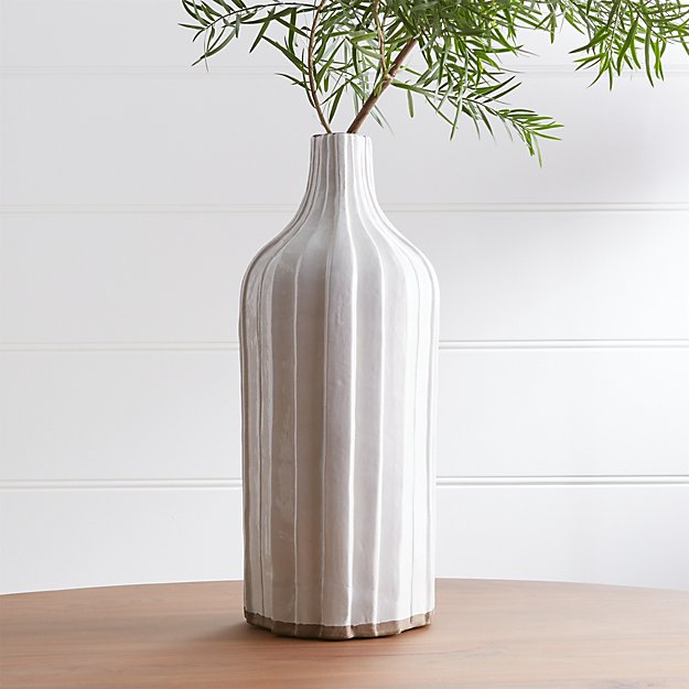 "Faye 18"" Cream Terra Cotta Vase - Image 1 of 2"