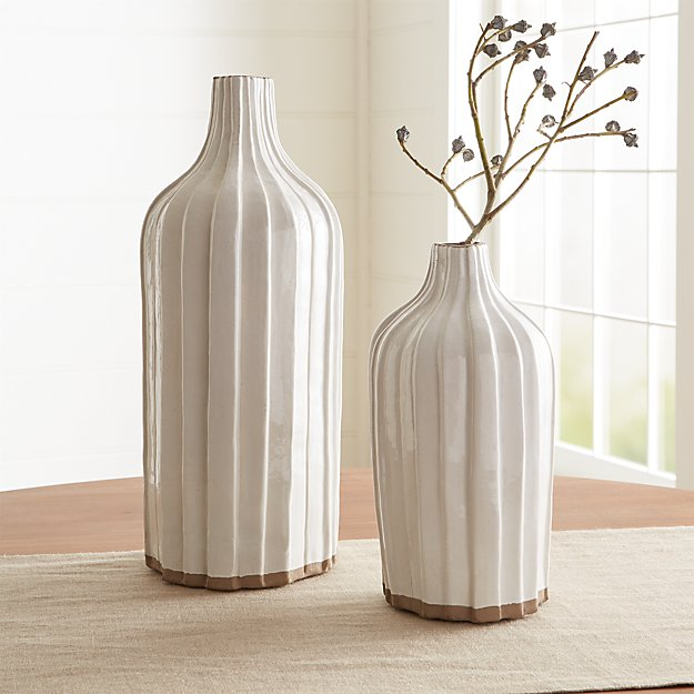 Faye Cream Terra Cotta Vases - Image 1 of 6