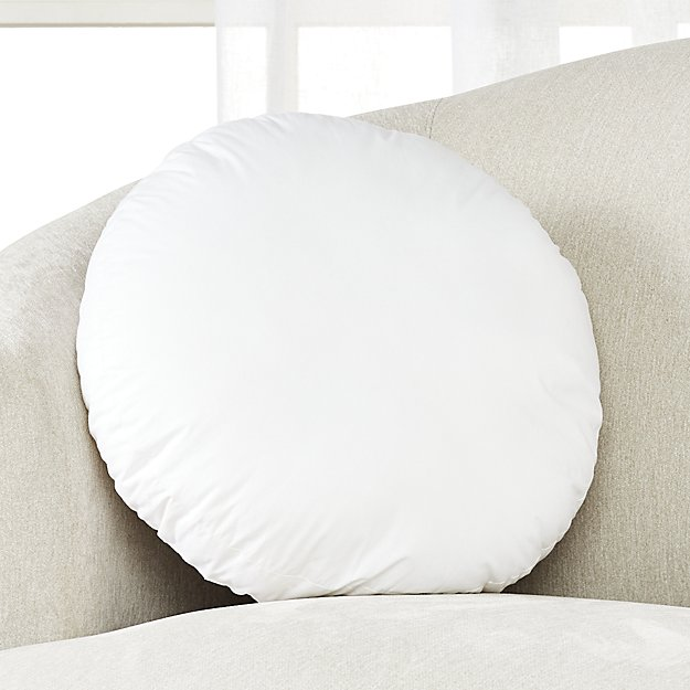 "Feather-Down Round Pillow Insert 18"" - Image 1 of 2"