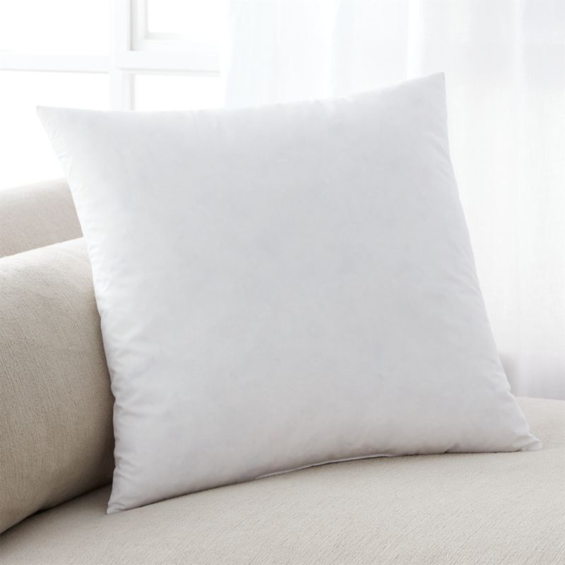 Pillow inserts often consist of a cotton shell encasing a plush internal filling of either duck feather, down, a mix of the two or a hypoallergenic down alternative—ours is a polyester fiberfill. Pillow inserts puff up colorful, interchangeable pillow shams and pillow covers, decorating your bed, sofa, armchair or bench.