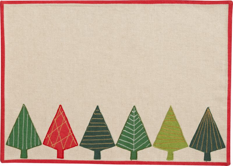 Modern evergreens parade in festive holiday colors on textured neutral cotton, graphically embroidered in stitched patterns and framed in bright red.<br /><br /><NEWTAG/><ul><li>100% cotton exclusive of embroidery</li><li>Machine wash; warm iron as needed</li><li>Made in India</li></ul>