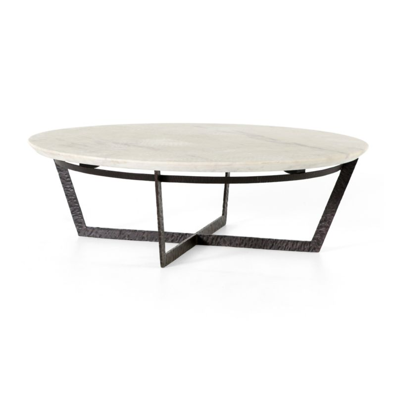 Crate And Barrel Black Marble Coffee Table: Verdad Round White Marble Coffee Table + Reviews