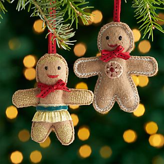 felt gingerbread ornaments - Crate And Barrel Christmas Decorations