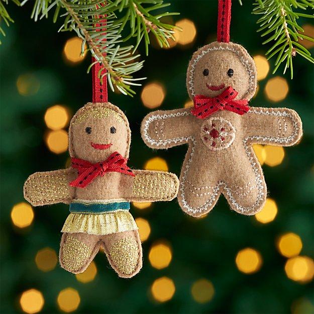 Felt gingerbread ornaments crate and barrel