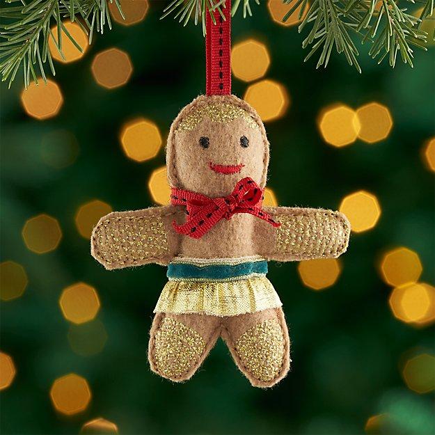 Felt Gingerbread Lady with Skirt Felt Ornament