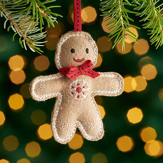 Felt Gingerbread Man Ornament with Red Tie