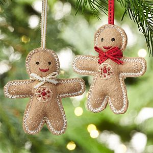 Gingerbread Man with Tie Felt Ornaments