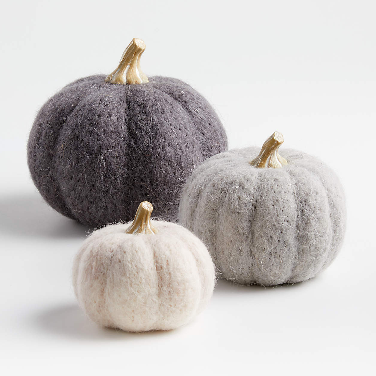 neutral felt pumpkins modern halloween decor