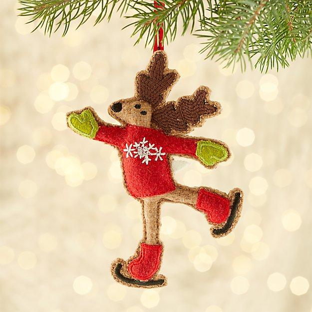 Felt Skating Reindeer Ornament