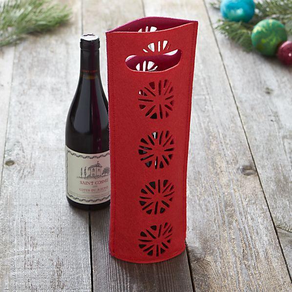 Felt Red and Fuchsia Wine Bag