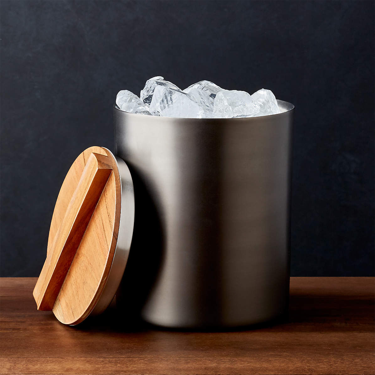 Fenton Graphite And Wood Ice Bucket Reviews Crate And Barrel