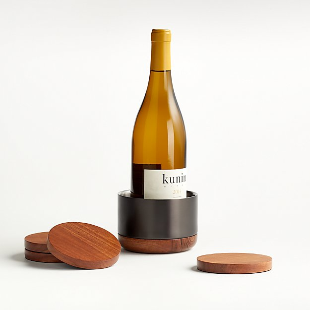 Fenton Graphite and Wood Wine Coaster Set - Image 1 of 5