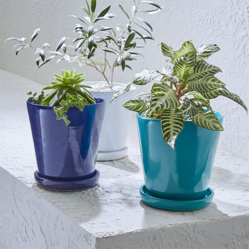 Festive Small Planters And Saucers