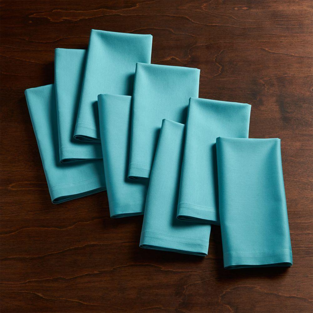 Set of 8 Fete Aqua Blue Cloth Napkins - Crate and Barrel