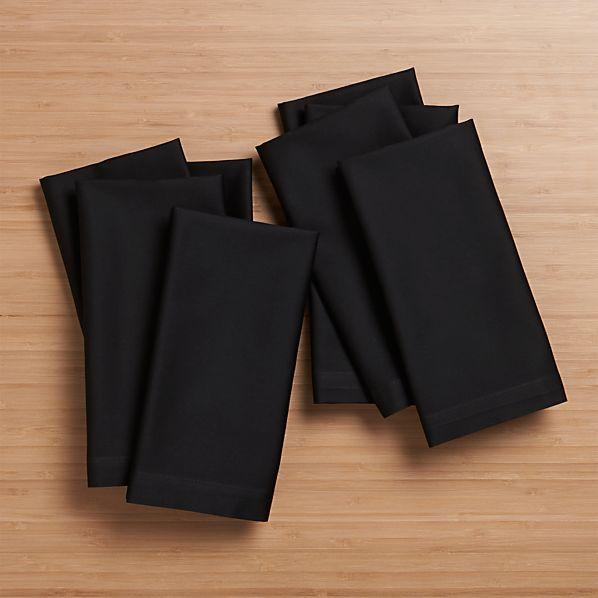 Set of 8 Fete Black Cloth Napkins