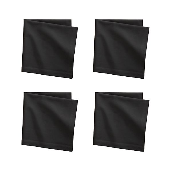 Set of 4 Fete Black Cotton Napkins