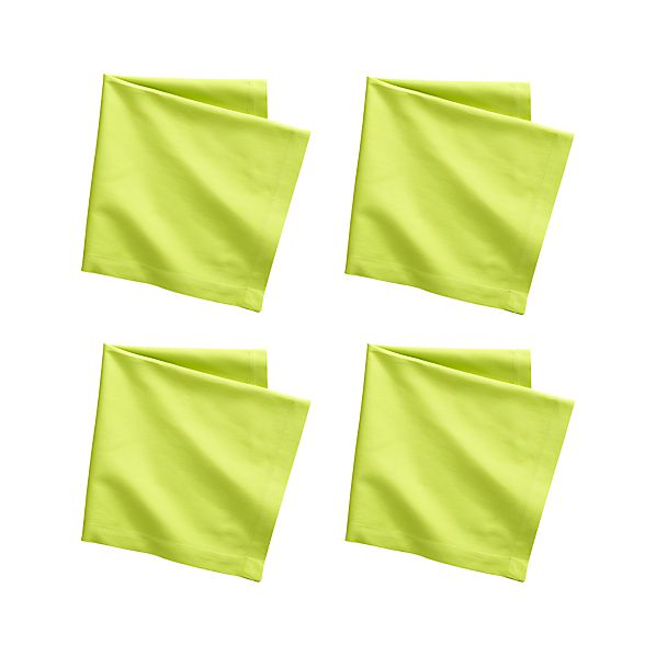 Set of 4 Fete Lime Cotton Napkins