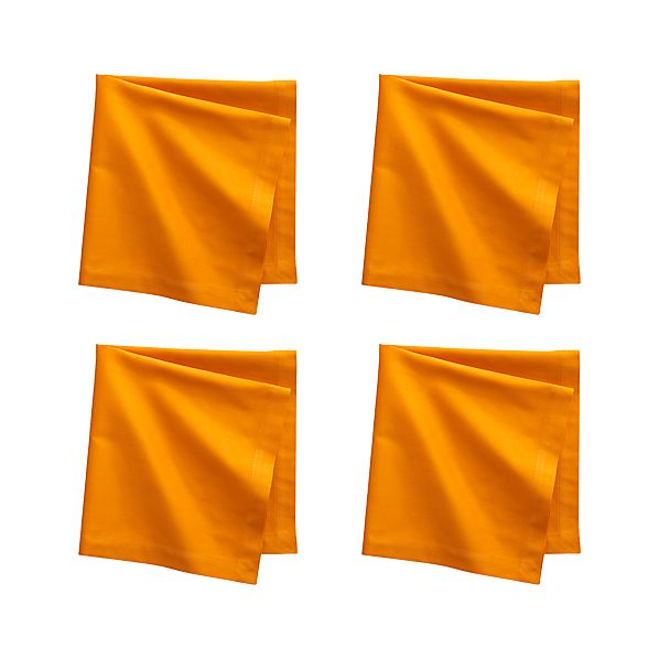 Set of 4 Fete Tangerine Cotton Napkins