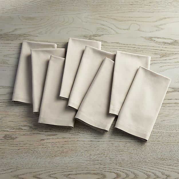 Fete Dove Grey Cloth Napkins, Set of 8 - Image 1 of 5