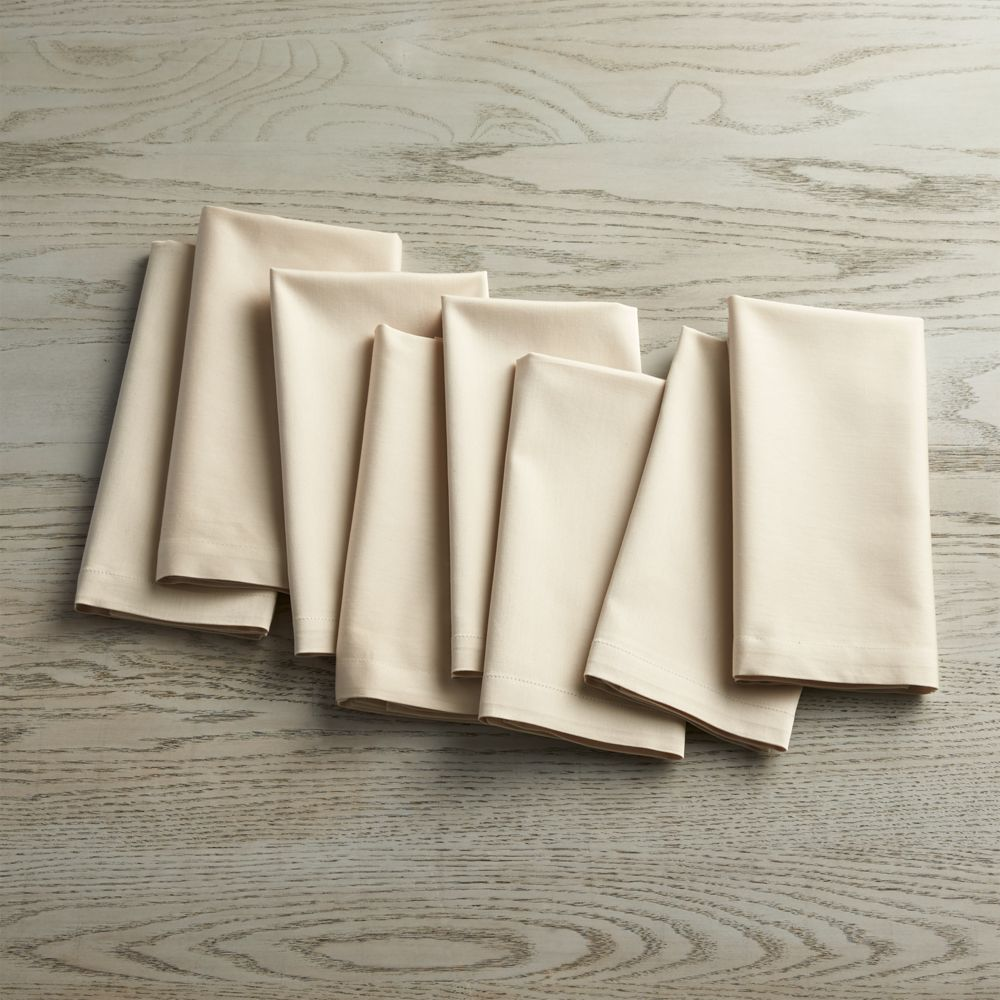 Set of 8 Fete Ecru Ivory Cloth Napkins - Crate and Barrel
